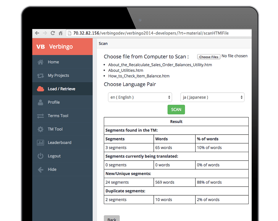 iPad Mockup of Verbingo Verbatim Solutions TMS